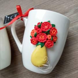 """Чаша """"Ваза с цветя"""" - червени"""